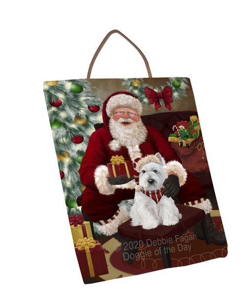 Santa's Christmas Surprise West Highland Terrier Dog Wall Décor Hanging Photo Slate SLTH58490