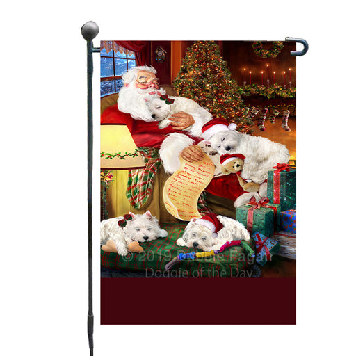 Personalized Westies Dogs and Puppies Sleeping with Santa Custom Garden Flags GFLG-DOTD-A62679