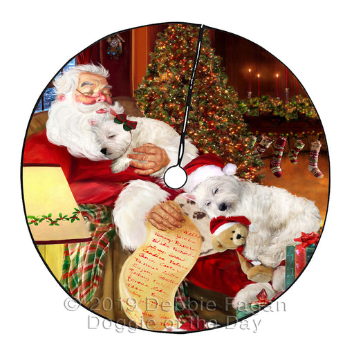 Santa Sleeping with Westies Dogs Christmas Tree Skirt