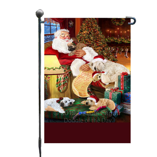 Personalized Wheaten Terrier Dogs and Puppies Sleeping with Santa Custom Garden Flags GFLG-DOTD-A62680