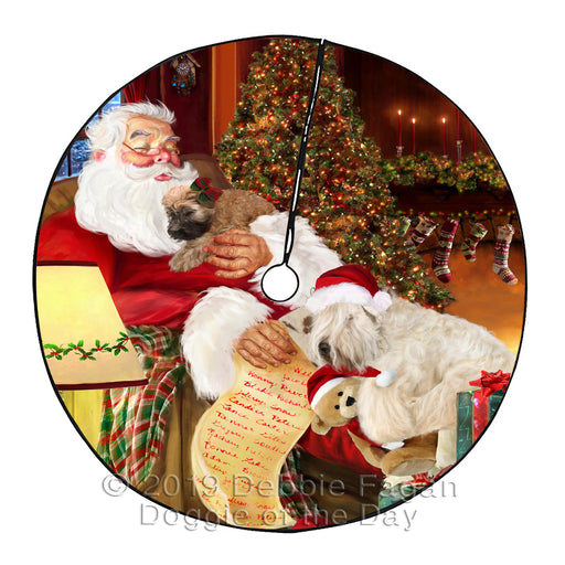 Santa Sleeping with Wheaten Terrier Dogs Christmas Tree Skirt
