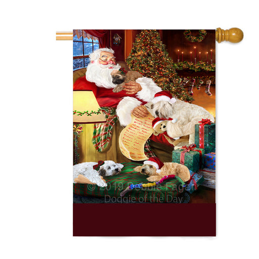 Personalized Yokshire Terrier Dogs and Puppies Sleeping with Santa Custom House Flag FLG-DOTD-A62737