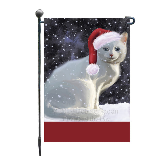 Personalized Let It Snow Happy Holidays White Albino Cat Custom Garden Flags GFLG-DOTD-A62483