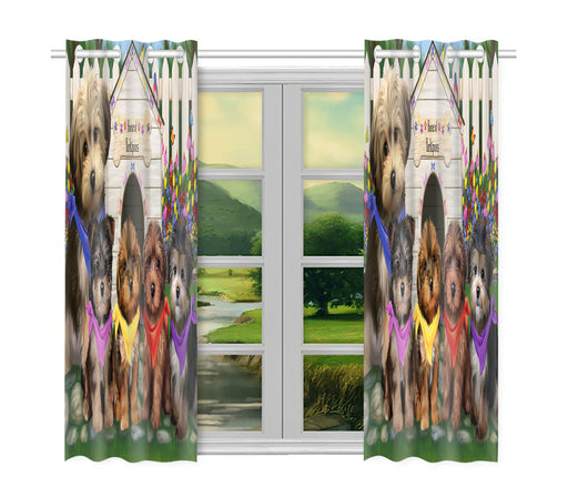 Spring Dog House Yorkipoo Dogs Window Curtain