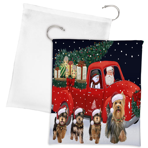 Christmas Express Delivery Red Truck Running Yorkshire Terrier Dogs Drawstring Laundry or Gift Bag LGB48942