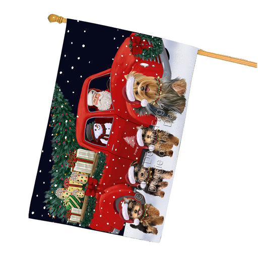 Christmas Express Delivery Red Truck Running Yorkshire Terrier Dogs House Flag FLG66562