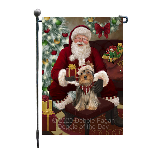 Santa's Christmas Surprise Yorkshire Terrier Dog Garden Flag GFLG66800
