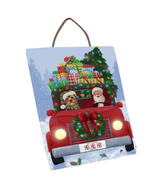 Christmas Honk Honk Red Truck Here Comes with Santa and Yorkshire Terrier Dog Wall Décor Hanging Photo Slate SLTH58298