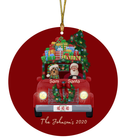 Personalized Christmas Honk Honk Red Truck Here Comes with Santa and Yorkshire Terrier Dog Round Flat Ornament PRBPOR59136