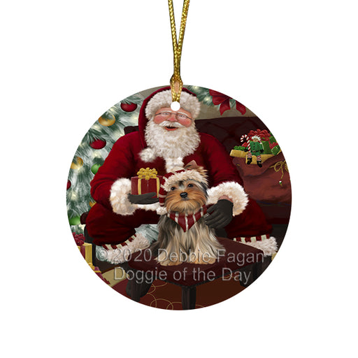 Santa's Christmas Surprise Yorkshire Terrier Dog Round Flat Christmas Ornament RFPOR58084