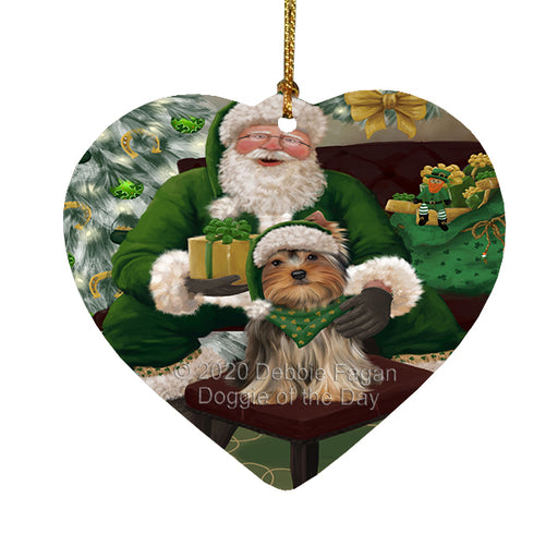 Christmas Irish Santa with Gift and Yorkshire Terrier Dog Heart Christmas Ornament RFPOR58328