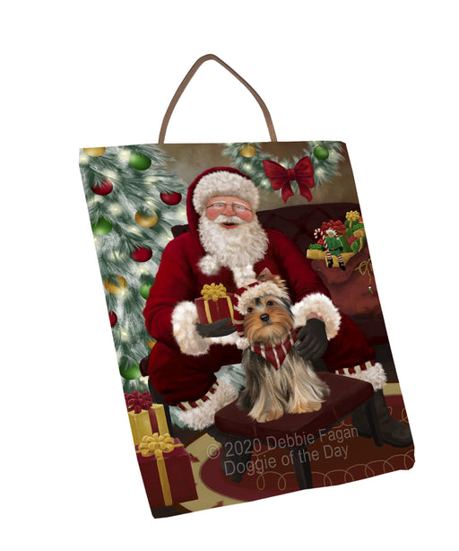 Santa's Christmas Surprise Yorkshire Terrier Dog Wall Décor Hanging Photo Slate SLTH58494
