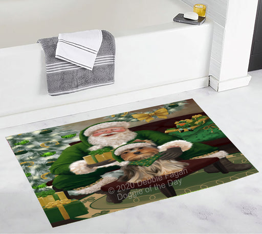 Christmas Irish Santa with Gift and Yorkshire Terrier Dog Bath Mat BRUG54214