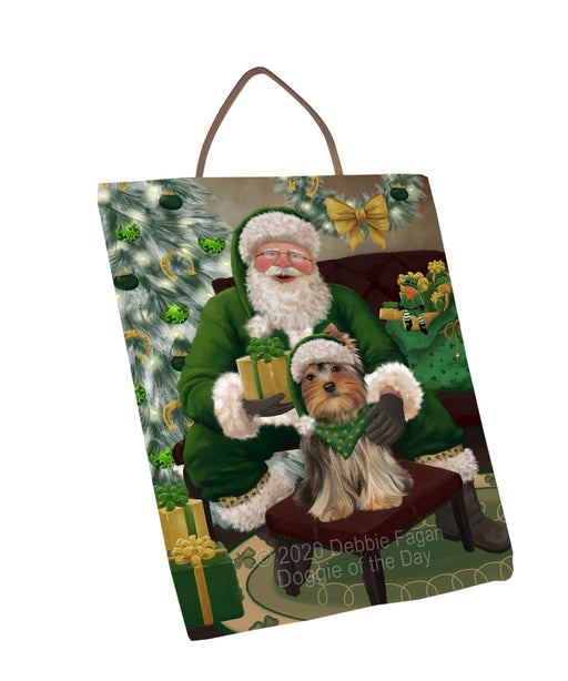 Christmas Irish Santa with Gift and Yorkshire Terrier Dog Wall Décor Hanging Photo Slate SLTH58396
