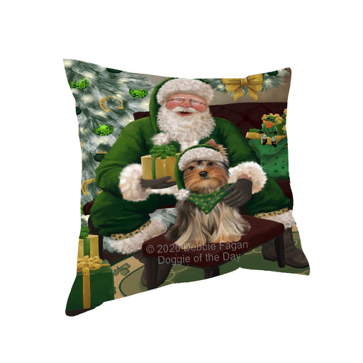 Christmas Irish Santa with Gift and Yorkshire Terrier Dog Pillow PIL87028