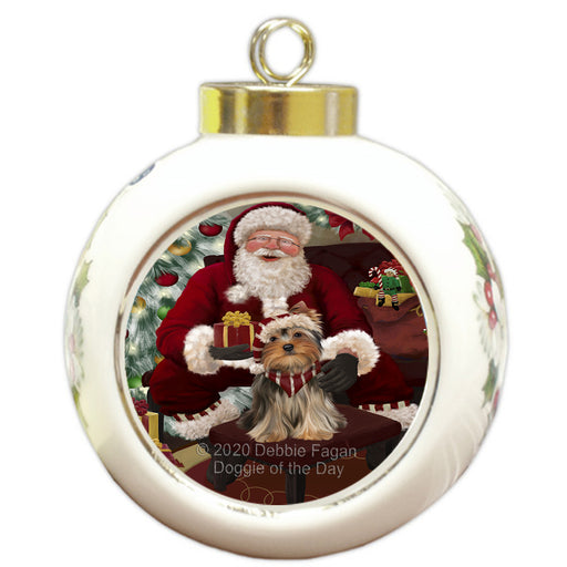 Santa's Christmas Surprise Yorkshire Terrier Dog Round Ball Christmas Ornament RBPOR58084