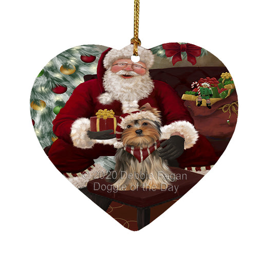 Santa's Christmas Surprise Yorkshire Terrier Dog Heart Christmas Ornament RFPOR58426