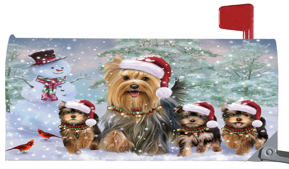 Magnetic Mailbox Cover Christmas Running Family Yorkshire Terriers Dogs MBC48277