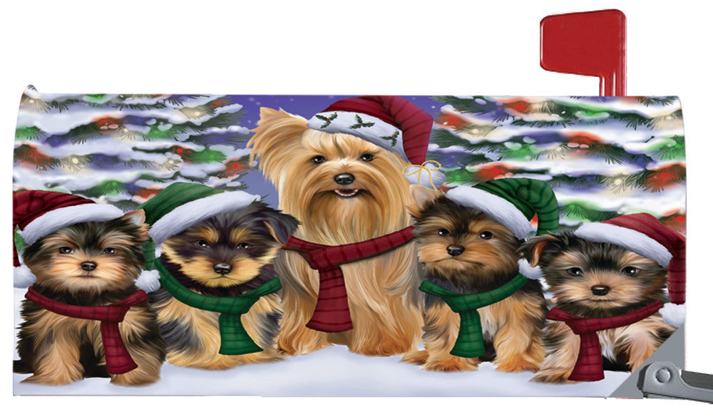 Magnetic Mailbox Cover Yorkshire Terriers Dog Christmas Family Portrait in Holiday Scenic Background MBC48268