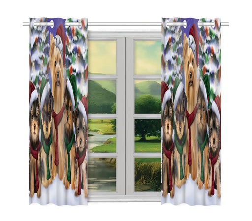 Yorkshire Terrier Dogs Christmas Family Portrait in Holiday Scenic Background Window Curtain
