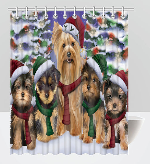 Yorkshire Terrier Dogs Christmas Family Portrait in Holiday Scenic Background Shower Curtain