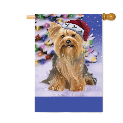 Personalized Winterland Wonderland Yorkshire Terrier Dog In Christmas Holiday Scenic Background Custom House Flag FLG-DOTD-A61505