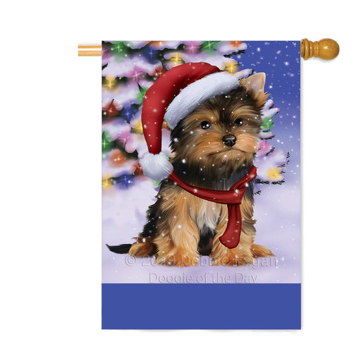 Personalized Winterland Wonderland Yorkshire Terrier Dog In Christmas Holiday Scenic Background Custom House Flag FLG-DOTD-A61506