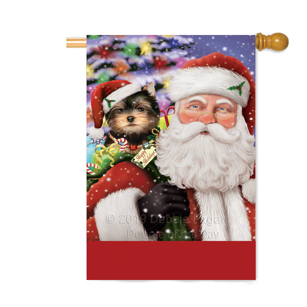 Personalized Santa Carrying Yorkshire Terrier Dog and Christmas Presents Custom House Flag FLG-DOTD-A63564