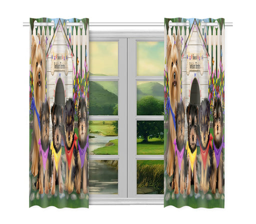 Spring Dog House Yorkshire Terrier Dogs Window Curtain