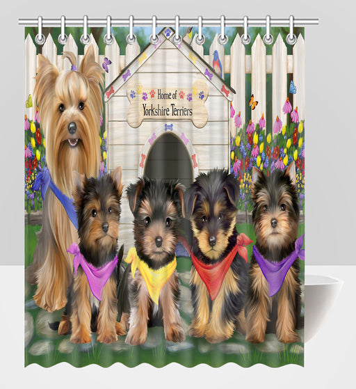 Spring Dog House Yorkshire Terrier Dogs Shower Curtain