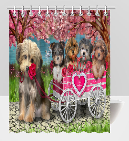 I Love Yorkshire Terrier Dogs in a Cart Shower Curtain