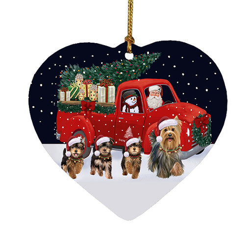 Christmas Express Delivery Red Truck Running Yorkshire Terrier Dogs Heart Christmas Ornament RFPOR58132