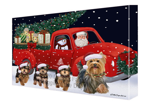 Christmas Express Delivery Red Truck Running Yorkshire Terrier Dogs Canvas Print Wall Art Décor CVS146456