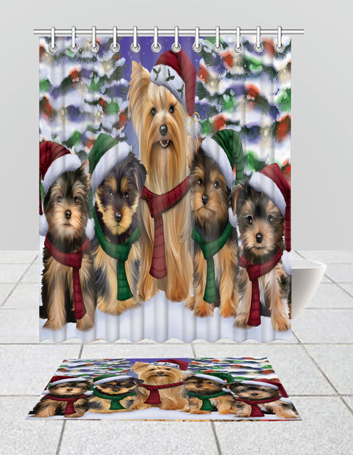 Yorkshire Terrier Dogs Christmas Family Portrait in Holiday Scenic Background  Bath Mat and Shower Curtain Combo