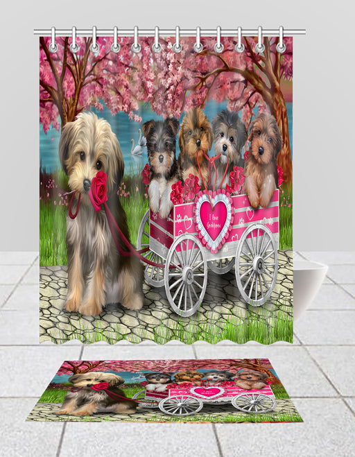 I Love Yorkshire Terrier Dogs in a Cart Bath Mat and Shower Curtain Combo