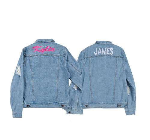 BFF Distressed Denim Jacket Set
