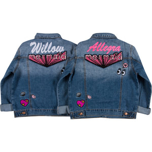 Girls Patch Denim Jacket BFF Set
