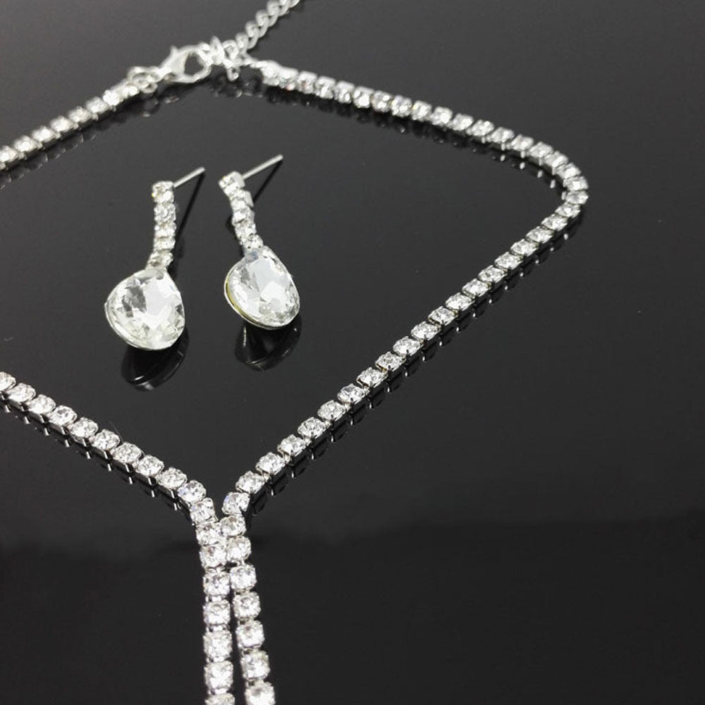 Crystal Wedding Jewelry Set  - Silver - Necklace and Earrings