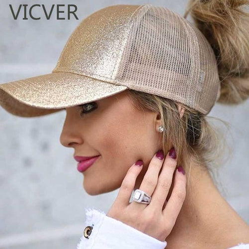 Glitter Ponytail Baseball Cap Women Snapback Summer time Adjustable