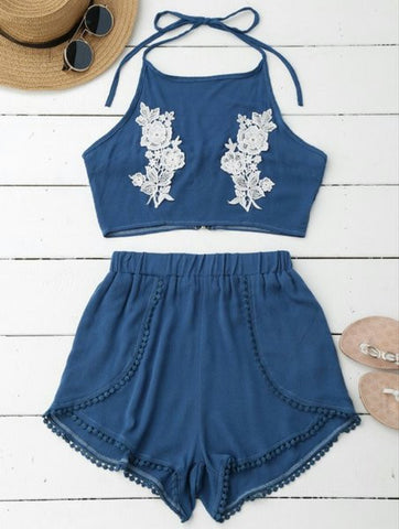 Denim and lace 2 piece set