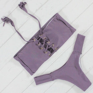 Lavender Lace-up Bikini Set