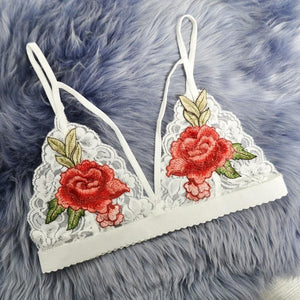 White Lace Sweet Roses Bralette