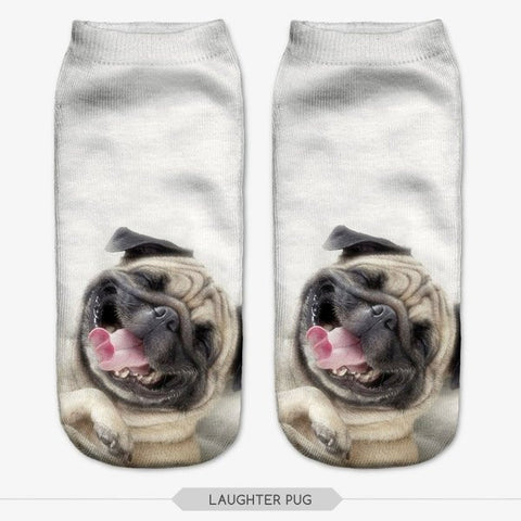 laughing pug socks