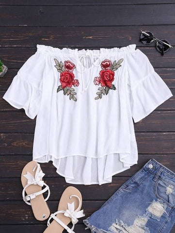 Embroidered Sweet Roses Off shoulder Blouse