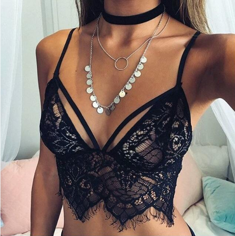 black lace crop bralette