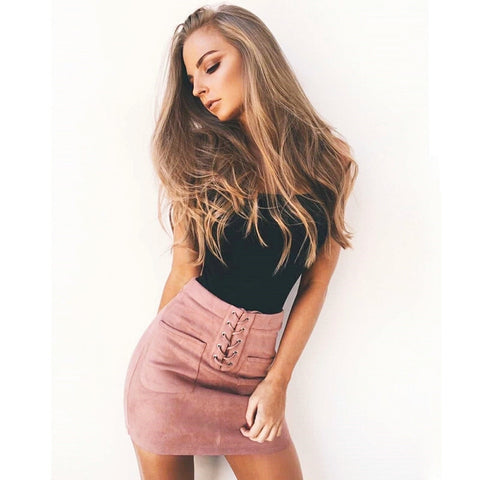 Mid lace up pink suede skirt