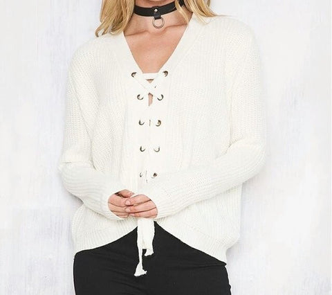 Kelly knit lace up sweater color options