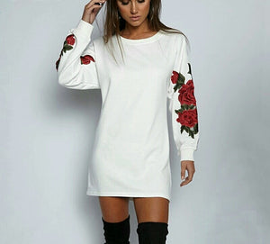 Sweet roses comfy dress black or white