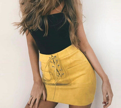 Mid lace up yellow suede skirt
