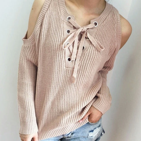 open shoulder lace-up sweater color options